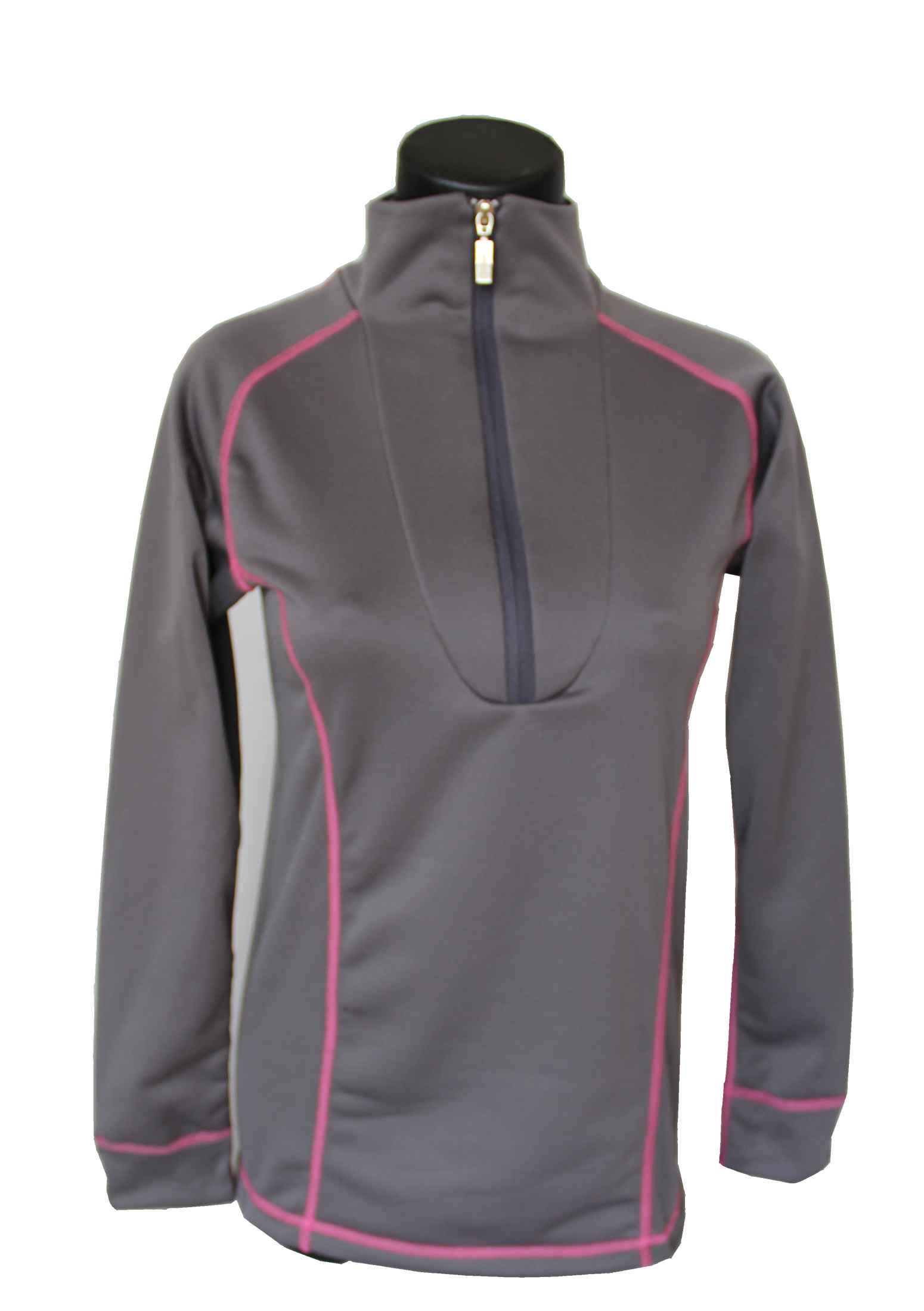 Kreolia dámský rolák s delším zipem šedá + růžové švy 6900f83881