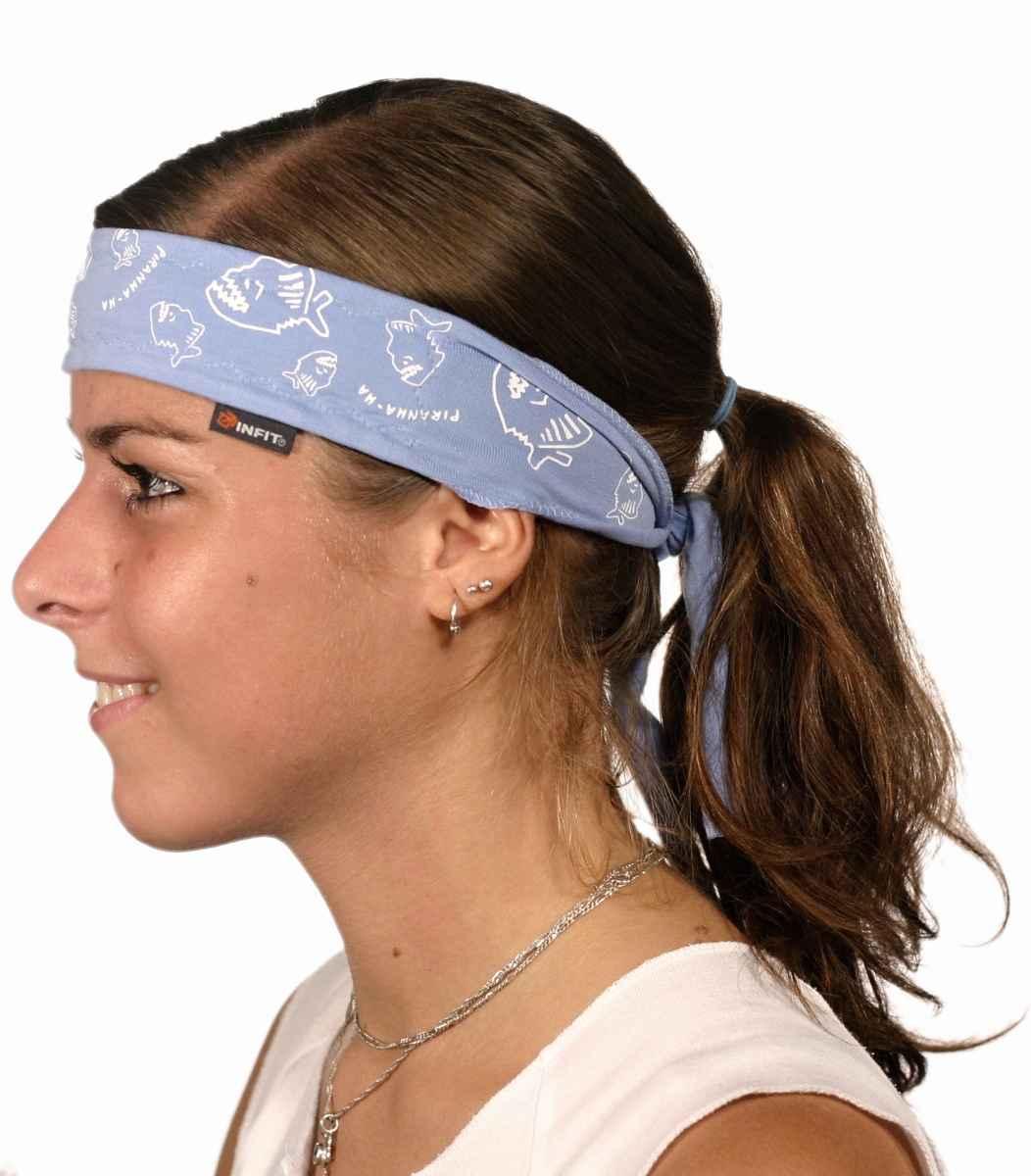 c7ae93b57a0 Fitness vázací čelenka blankyt modrá vzor Piranha