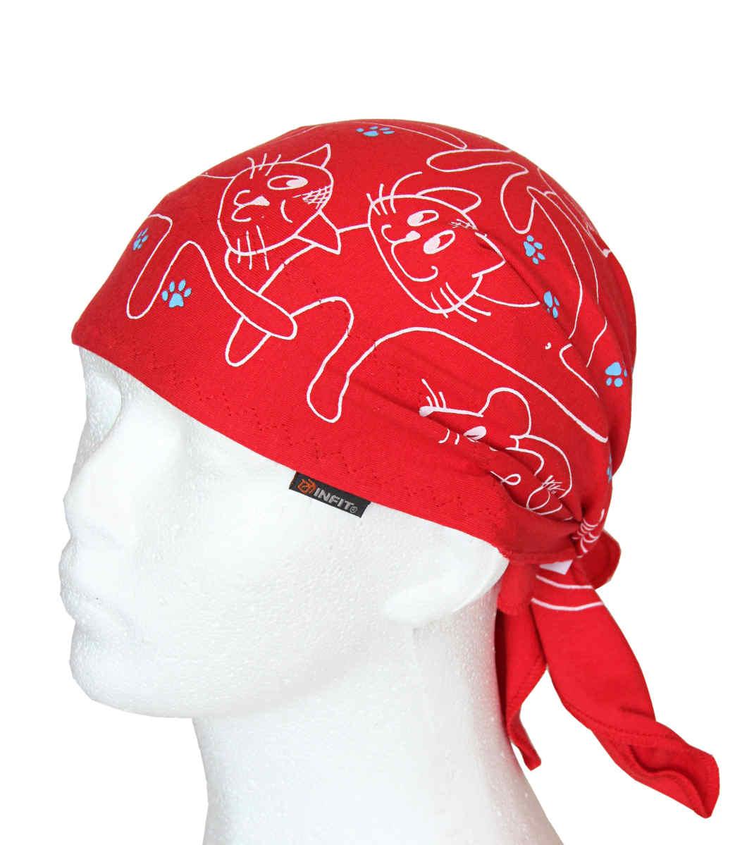 Dětský pirát trojúhelníkový šátek červený vzor Kočky 582ab9a6af
