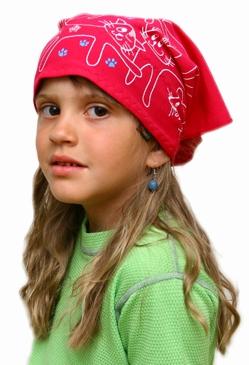 Dětský pirát trojúhelníkový šátek malinový vzor Kočky 862bd92ede