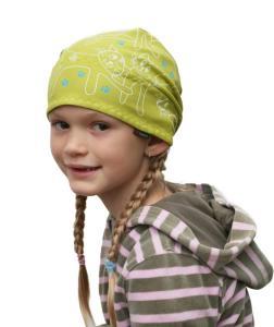 Dětský pirát trojúhelníkový šátek pistácie vzor Kočky