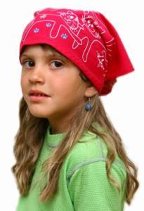 Dětský pirát trojúhelníkový šátek  malinový vzor Kočky