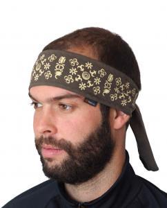 Biker vázací čelenka  khaki vzor Adinkra
