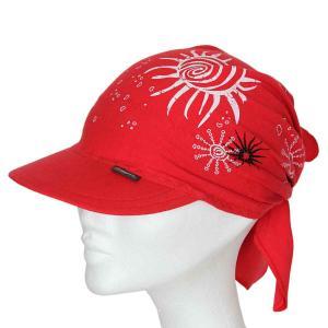 Šátek s kšiltem červený vzor Sluníčka