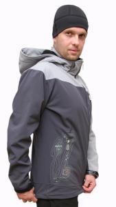 Kellen  pánská soft shell bunda světle šedá - tmavě šedá