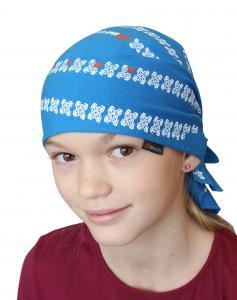 Pirát trojúhelníkový šátek dvouvrstvý světle modrý