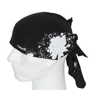 Pirát trojúhelníkový šátek dvouvrstvý černý vzor Spray bílý