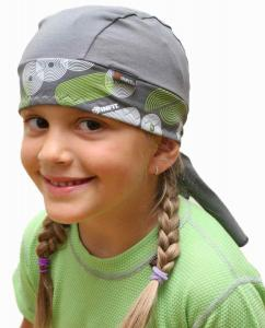 Dětský Redy  tvarovaný šátek  šedý  vzor Kruhy s pruhy