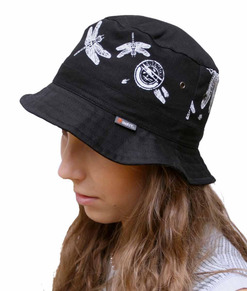 Daen letní klobouk černý vzor Vážka. Lehký letní klobouk z bavlněné tkaniny. b68693ae2a