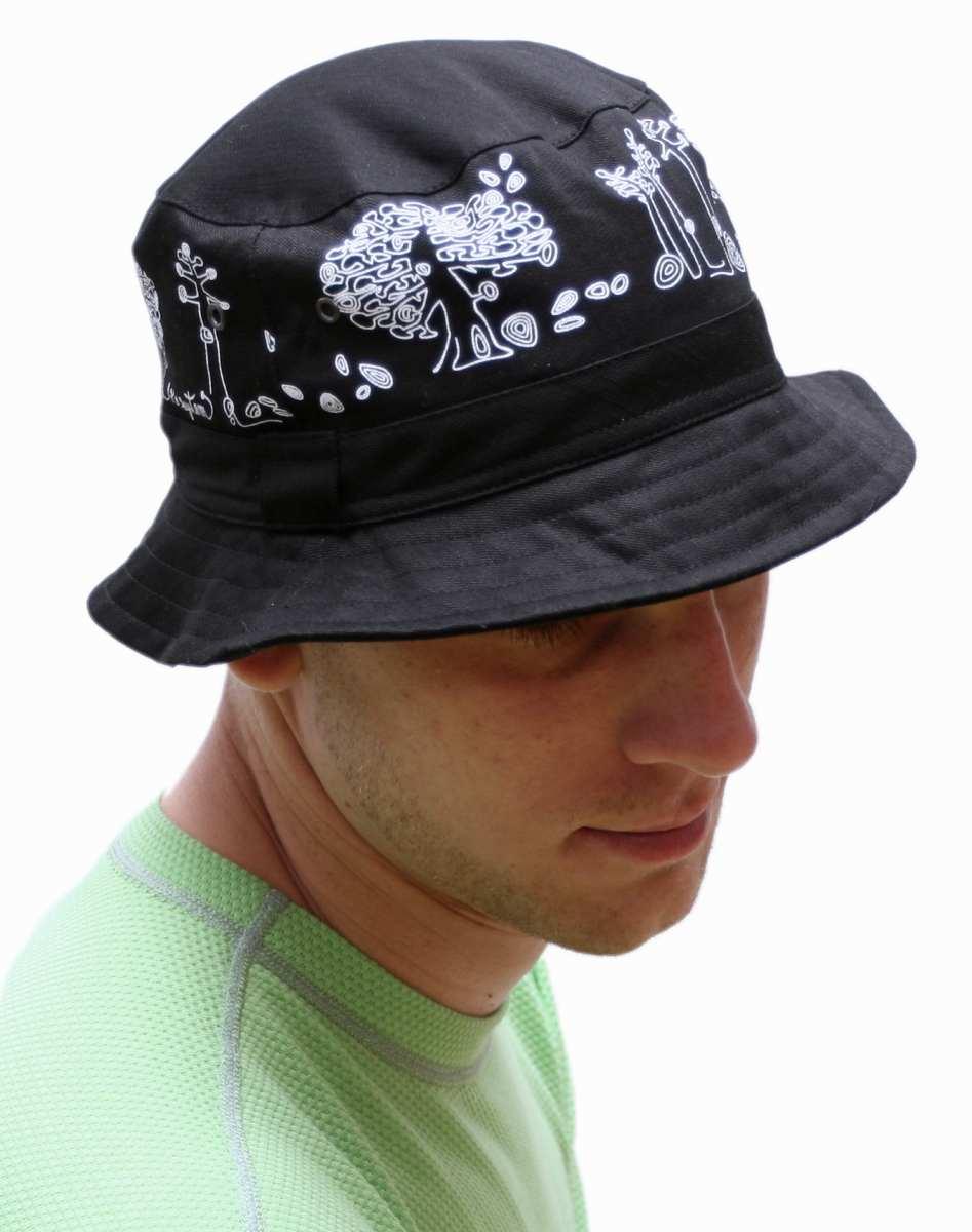 b0fa60fe848 Daen letní klobouk černý vzor Stromy