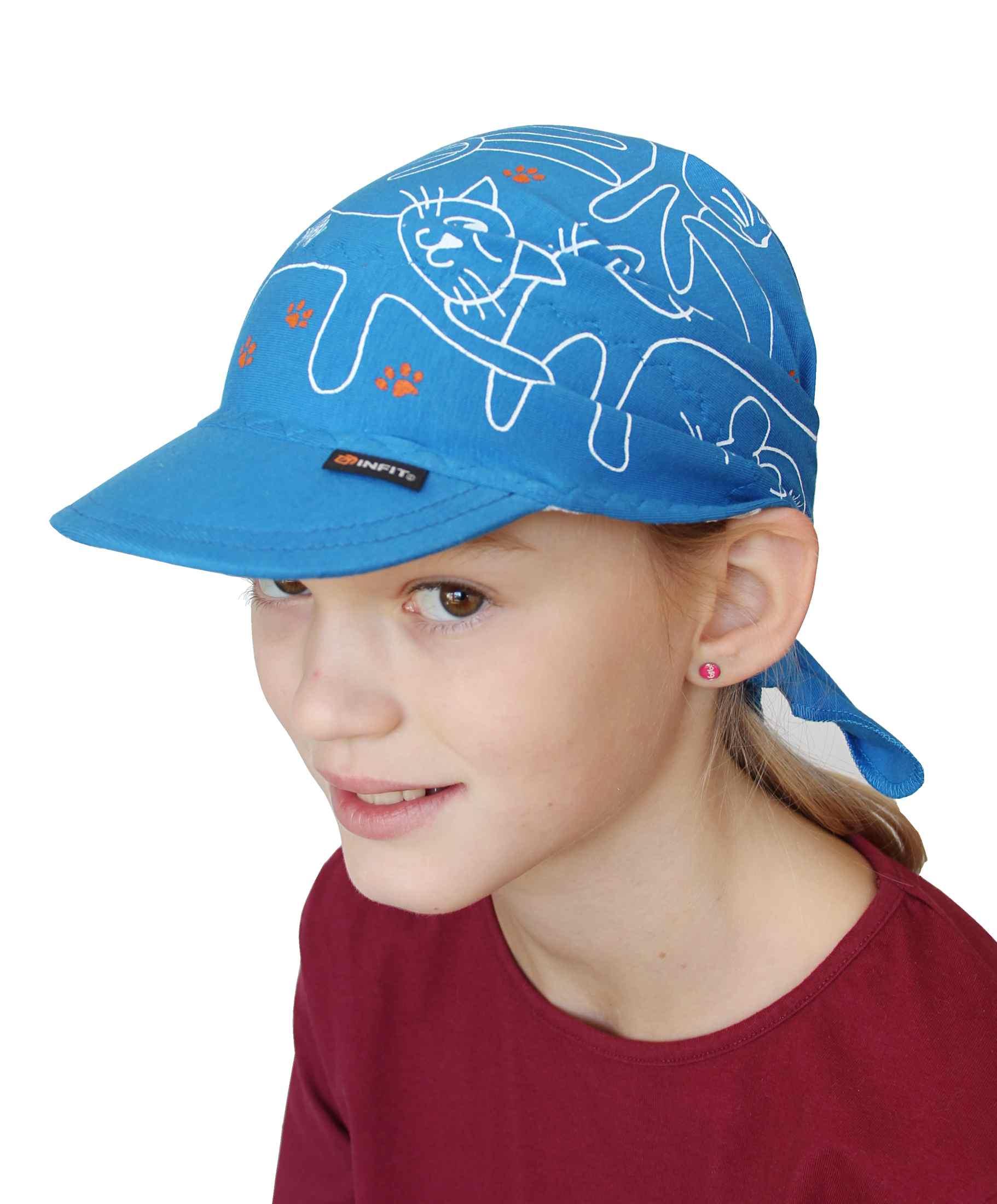 Dětský šátek s kšiltem světle modrý vzor Kočky 6bb76dff1c