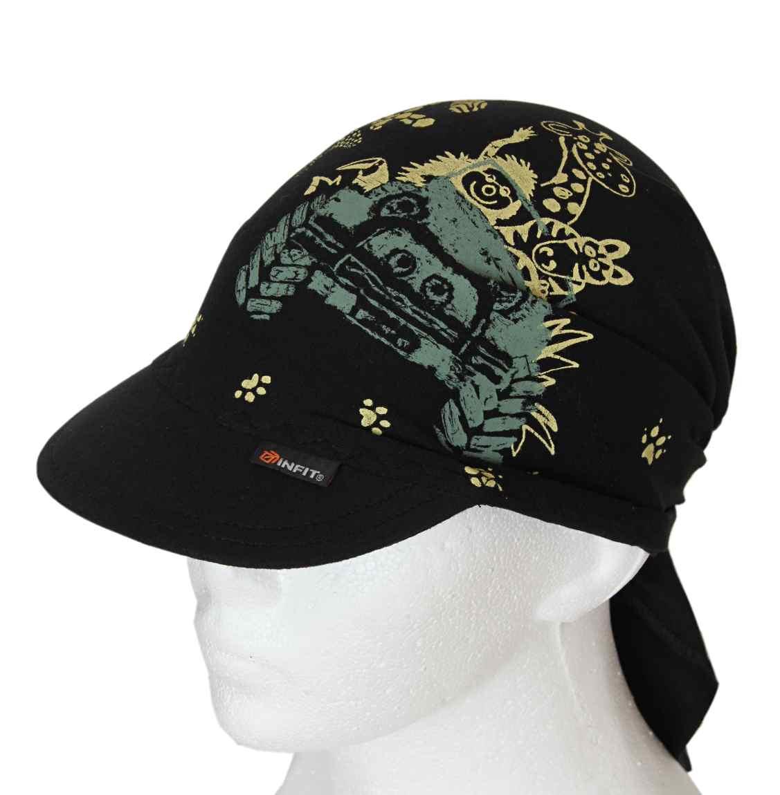 d4ac7cabc0f Dětský šátek s kšiltem černý vzor Safari